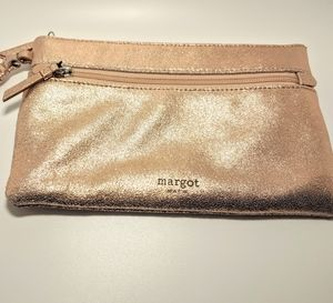 Anthropologie Margot Rose Gold Leather Clutch